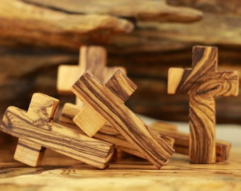 50 Olive Wood Small Crosses for rosaries,Olive Wood Cross,Tiny crosses,Small Cross Pendant,Small crosses bulk,Holy land