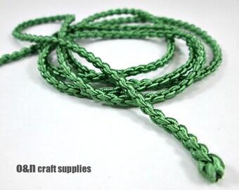 "Satin ""chain"" braided silk cord, green, 1meter"