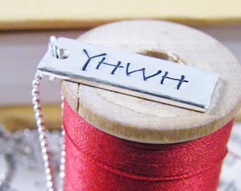 YHWH hand stamped pendant in sterling silver