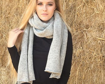 Extra long knitted natural wool scarf