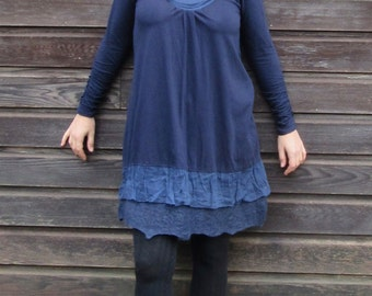 Ruffle smock ~ Longsleeve ~ Lagenlook tunic ~ Felt dress ~ Blue winter dress - pixie clothing ~ Short dress ~ Gypsy top