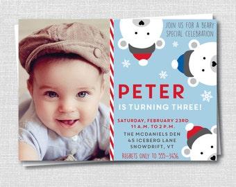 Boy Polar Bear Birthday Photo Invitation - Winter Birthday Party - Polar Bear Theme - Digital Design or Printed Invitations - FREE SHIPPING