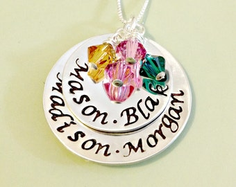 Personalized Mommy Grandmother Nana Family Necklace - Hand Stamped Custom Jewelry - Two Stacked Discs with Swarovski Birthstones - Grandma