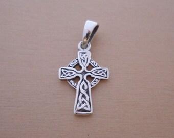 925 Sterling Silver Small Scottish Gaelic CELTIC Infinity Cross Pendant