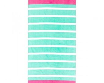 Mint Stripe Beach Towel, Pool Towel, Monograms