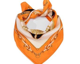 Silk Scarf , Square Neck Scarf , Women Silk Scarf , Gifts for Her - Orange Belt Pattern Scarf