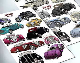 Oldtimer antique classic cars, DIY printable collage sheet, print and cut, embellishments for crafting, scrapbooking, card making, 2 pdf