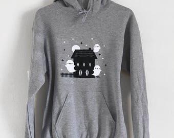 Haunted House Hoodie - Kawaii Ghosts Unisex Sweatshirt - (Sizes S, M, L, XL)