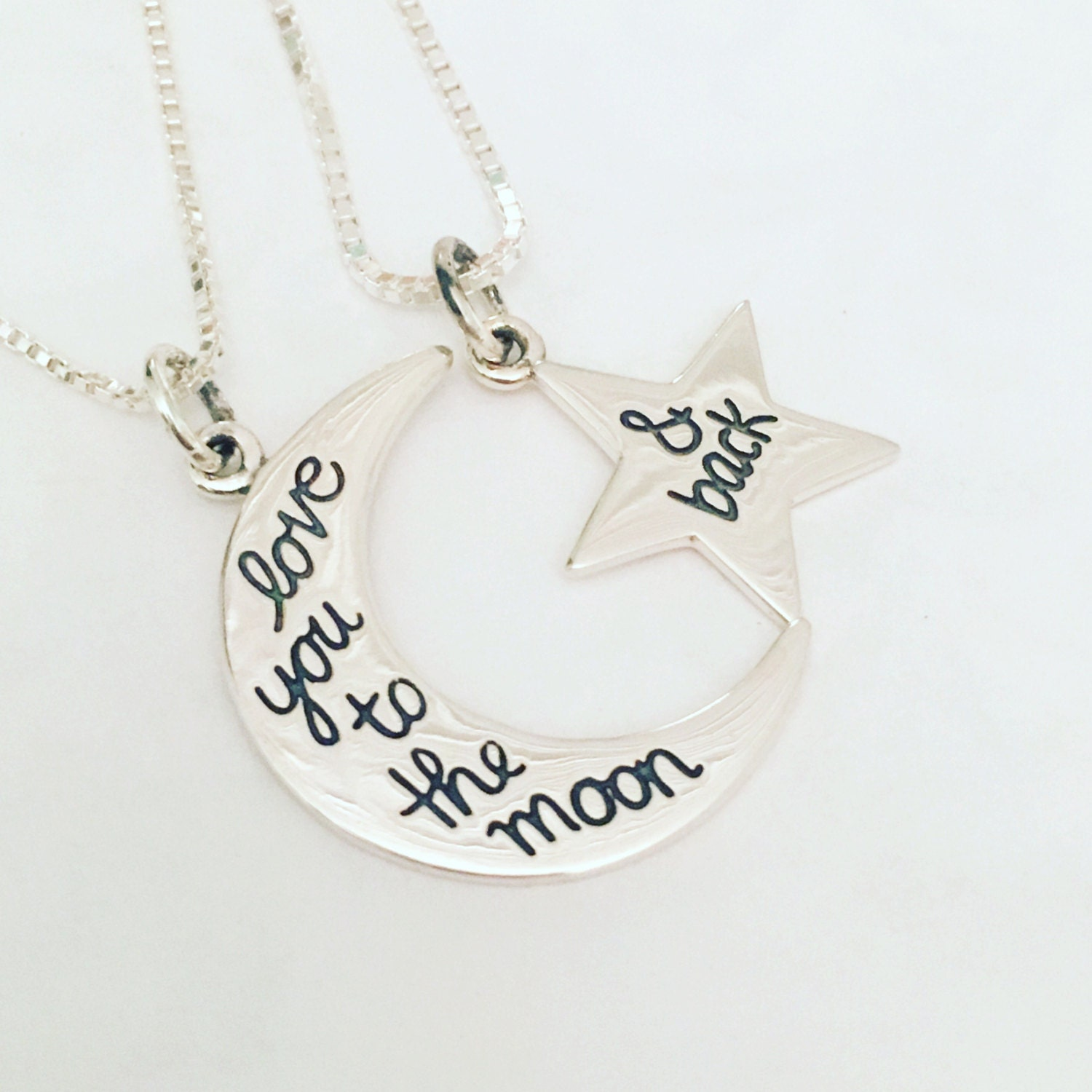 Love you to the moon and back star and moon set mother daughter love you to the moon and back star and moon set mother daughter necklaces best friend necklaces necklace gift set mothers day gift aloadofball Images