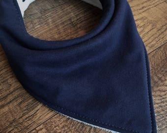Organic bandana bib navy bib organic Bamboo Terry cloth bib-organic cotton knit bib-Gender Neutral bandana bib organic baby bib Organic baby