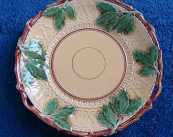 Majolica lace and Hollies leaves and Branch Decorative Plate