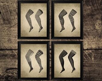 Vintage hosiery print, ladies stockings art, fashion print, vintage interior art, vintage fashion wall art, fashion print, wall decor