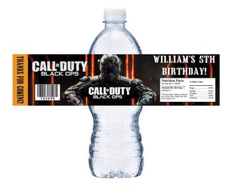 Call of duty party etsy 10 glossy call of duty black ops personalized water bottle labels wrappers birthday party favors custom filmwisefo Image collections