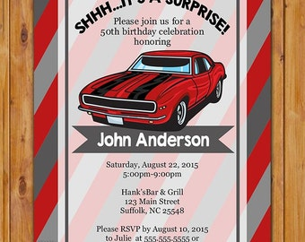 Red Car Adult Surprise Classic Car Birthday Party Invite Stripes Masculine Red Grey Stripes Invitation 16th 60th 5x7 Digital JPG File (474