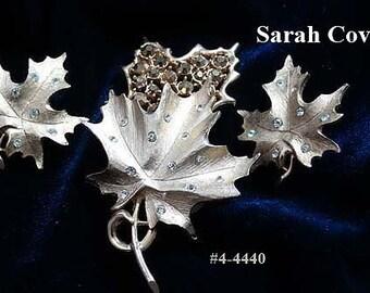 "FREE SHIP Vintage Sarah Coventry Gold and Rhinestone Leaf Set ""Designers Choice"" (4-4440)"