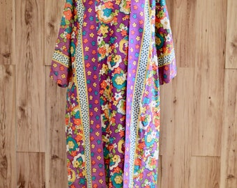 1960s Colorful Psychedelic Floral Wrap Kaftan, Sixties Flower Power Caftan, Hostess Loungewear Wrap Dress, Purple & Floral Groovy Maxi
