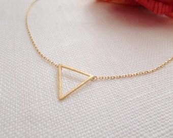 Tiny gold chevron triangle necklace