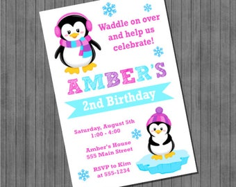 Penguin Invitation - Pink