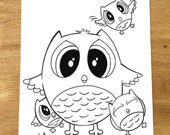 Cute Owls Coloring Page! Downloadable PDF file!