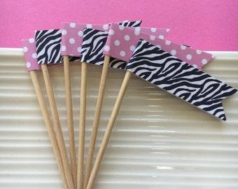 Zebra Print / Pink Polkadot / party picks / food picks / cupcake toppers / set of 24