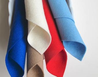 100% Wool, Sail Boat Color Story, Merino Felt Fabric, Red, Ecru, Light Blue, Cobalt, Felt Material, Lake, DIY Toddler Toys, Wool Applique