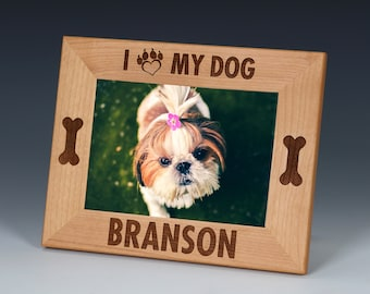 Dog Name Picture Frame, Pet Picture Frame, Custom Engraved, Pet Name Frame, Dog Picture Frame, Dog Gift