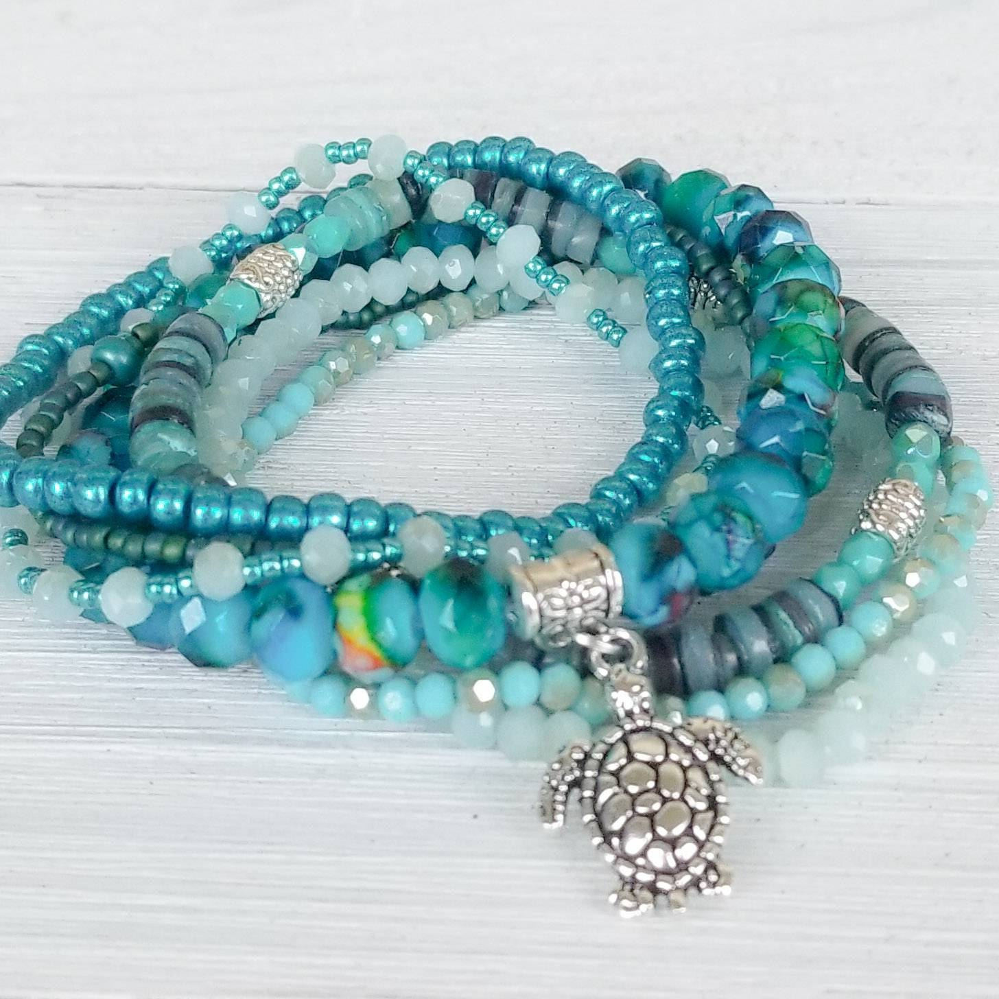 listing bead fullxfull vacation jewelry bracelets gift beach style bracelet boho turtle seed il stack for sea