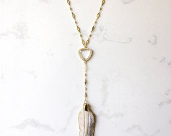 SALE! Creme Feather Lariat Necklace // Gold Electroplated // Layering Necklace // Boho Necklace