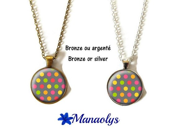 Necklace or multicolored necklace, colorful necklace, glass, silver or bronze supports cabochons