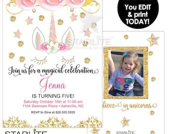 Unicorn Birthday Invitation Download, Unicorn Birthday Invitation Printable, Rainbow Unicorn Birthday Invitation, EDITABLE INSTANT DOWNLOAD