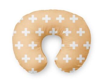 Nursing Pillow Cover Peach Plus Sign- Nursing Pillow Cover - Plus Sign Boppy Cover - Soft Minky Boppy Cover - Peach Cover - Organic Boppy