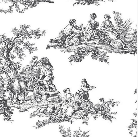 Black And White Countryside Harvest Toile Wallpaper
