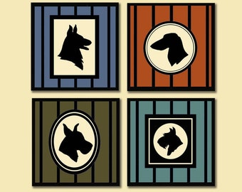 Dog Coasters, Dog Silhouette Coaster Set, Dog Portrait, Pets, Dog Lover's Gift. Scottie, Greyhound, Men's Gift, Fathers Day, For Him,