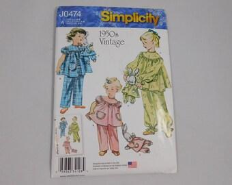 Child's Sleepwear Sewing Pattern, 1950s Style, Stuffed Bunny, Simplicity J0474, Size A 3 4 5 6  7 8, PJs, Pajamas, Girl's
