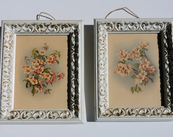 2 Vintage 1940's  IBF Co. Floral Lithographs great condition ~  Shabby compatible, Country or cottage Chic, Floral or Country  Decor