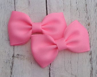 Hair Bows for Pigtails~Tuxedo Hair Bows~Small Hair Bows~Bubblegum Pink Hair Bow~Hair Bows~Baby Hair Bows~Small Boutique Bows~Tuxedo Hairbows