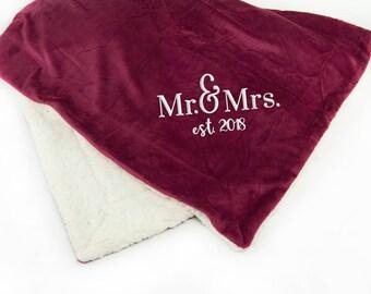 Mr. & Mrs. Throw Blanket, Wedding Gift, Newlywed Gift, Sherpa Blanket