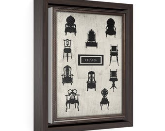 Chairs - Vertical Framed Premium Gallery Wrap Canvas Size: 8″ × 10″