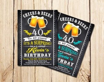 40th Beer Party Invitation, Beer Invitation, Surprise Birthday, Beer Birthday Invitation, Cheers And Beers Invitation, Adult Birthday