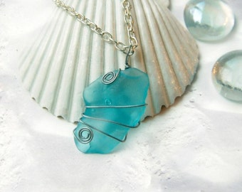 Blue Sea Glass Necklace Ocean Jewelry Beach Necklace Beach Jewelry Beach Glass Jewelry Beach Glass Necklace Sea Glass Jewelry Recycled Glass