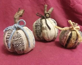 Primitive pumpkins from vintage rugs