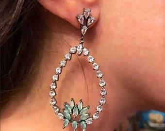 Teardrop Chandelier Earrings | Statement Earrings | Green Gemstone Teardrop Earrings | Gunmetal Teardrop Earrings | Statement Earrings