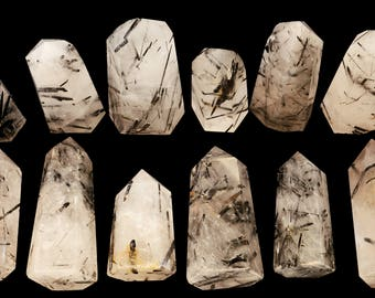 Tourmaline Quartz Crystal 2 Inch 2-4 Oz Polished Crown and Root Chakra Healing Crystals and Stones Raw Reiki Stones Specimen
