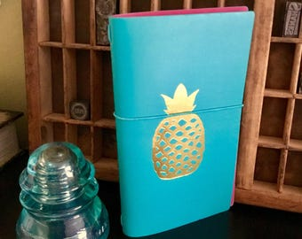 GOLD PINEAPPLE Travel Journal Traveler Notebook Travelers Note Book Planner Elastic Band with Flamingo Insert Recollections Tropical Life