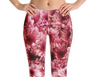 Flower Leggings, Pink Floral Print Yoga Pants, Stretch Pants, Printed Tights, Spring Leggings for Women