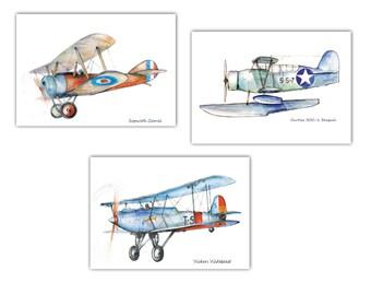 Airplane art Set 3 prints Aircraft Watercolor Poster Boys nursery decor Airplane painting Aircraft artwork Retro avia Gift for pilot