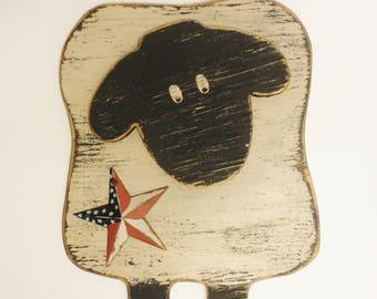 Patriotic Sheep Sign, Wood Sheep Wall Decor, Americana Sheep Accent