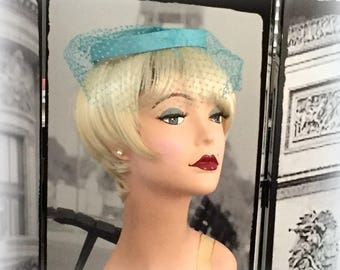 60s Aqua Fascinator - Still Perfect Diamond Netting - Elegant Simplicity