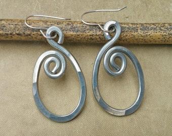 Spiraling Oval Aluminum Earrings, Oval Hoop Earrings, Hammered Hoops Gift for Women, Wife, Light Spiral Oval Earrings, Oval Dangle Earrings