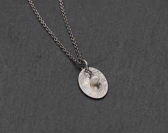Floral Pearl Necklace, Sterling Silver, Simple Bridal Necklace, Bridesmaid Gift, June Birthstone